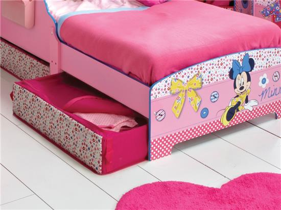 kinderbett 70 x 140 cm minnie mouse maus m dchen bett mit schubboxen disney ebay. Black Bedroom Furniture Sets. Home Design Ideas