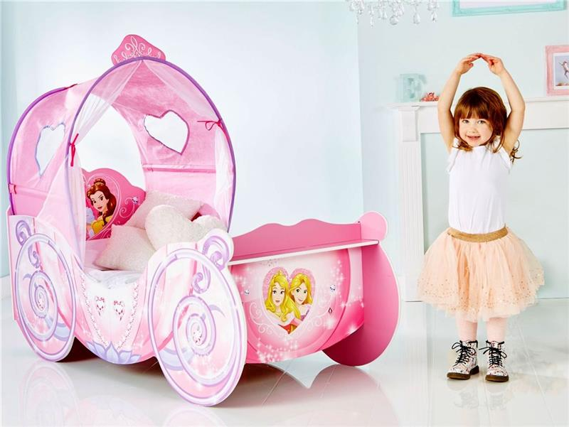 prinzessin kutsche kinderbett princess disney bett f r m dchen mit led 70x140 ebay. Black Bedroom Furniture Sets. Home Design Ideas