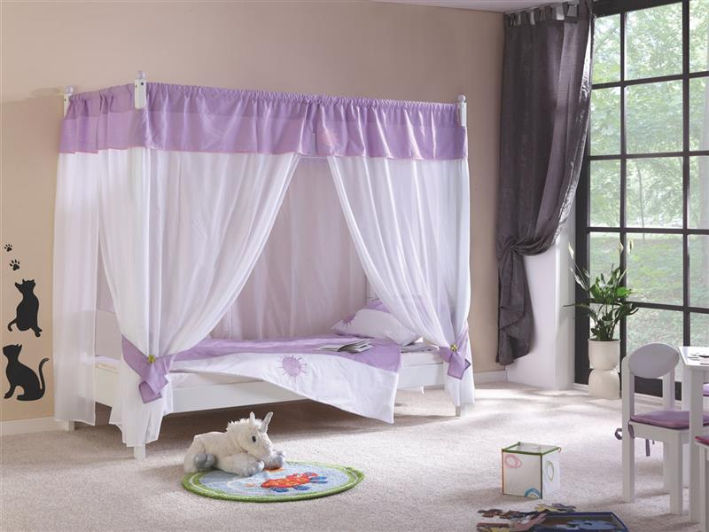 himmelbett stella bett f r m dchen buche massiv weiss. Black Bedroom Furniture Sets. Home Design Ideas