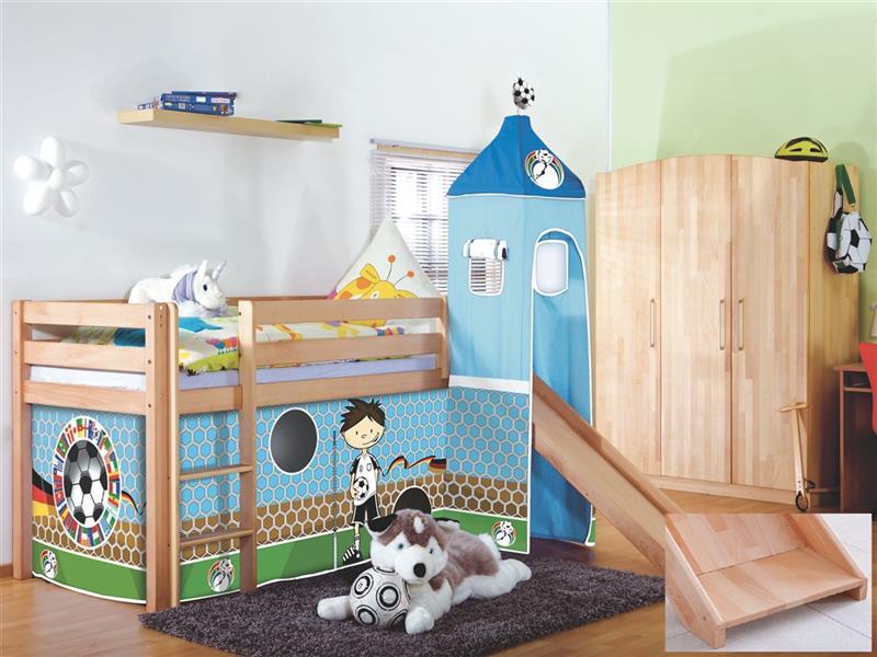 hochbett spielbett buche massiv natur turm rutsche stoff fussball mit matratze ebay. Black Bedroom Furniture Sets. Home Design Ideas