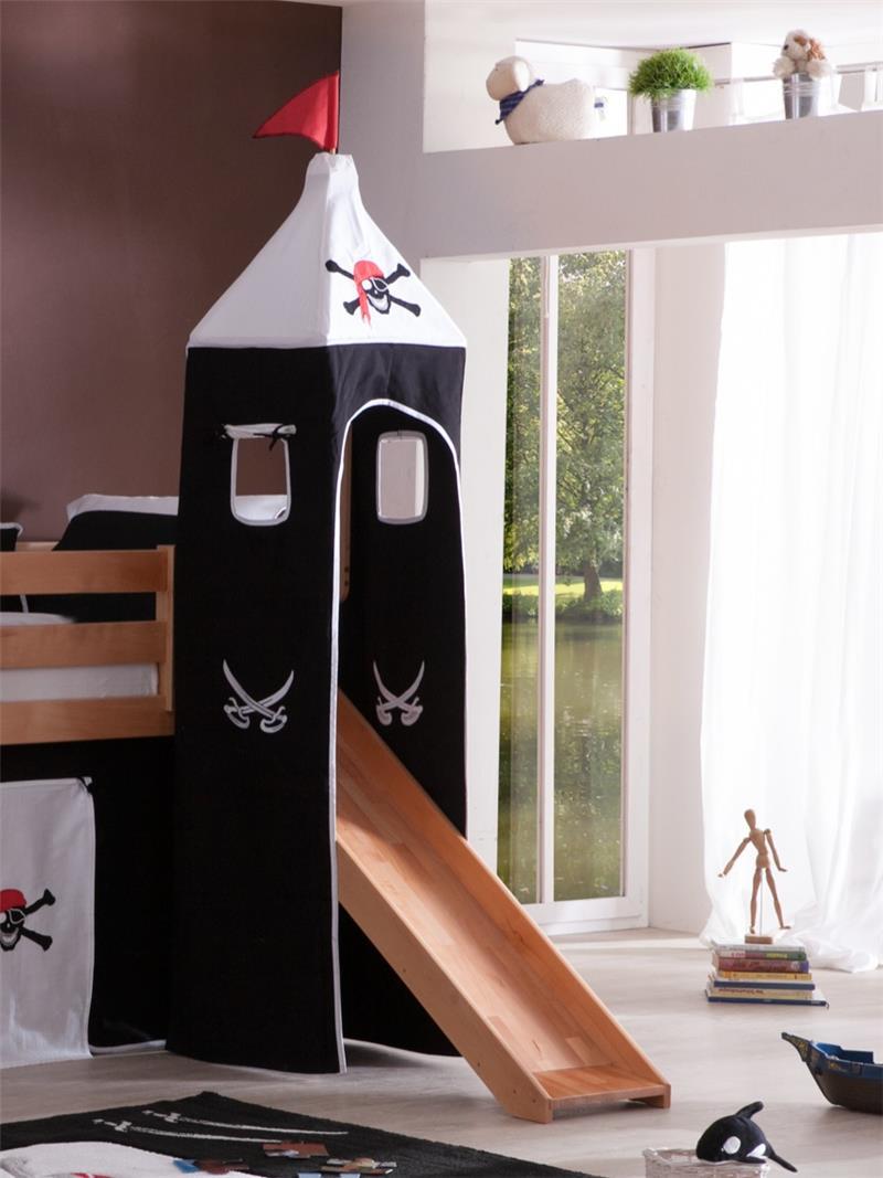 hochbett spielbett buche massiv natur turm rutsche massivholz vorhang set pirat ebay. Black Bedroom Furniture Sets. Home Design Ideas
