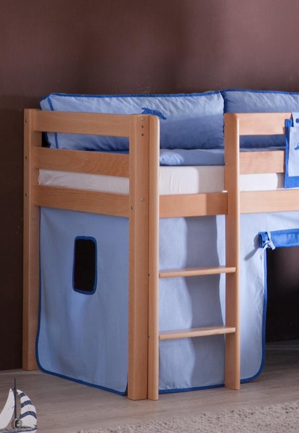 hochbett spielbett buche massiv natur turm rutsche blau delphin mit matratze ebay. Black Bedroom Furniture Sets. Home Design Ideas