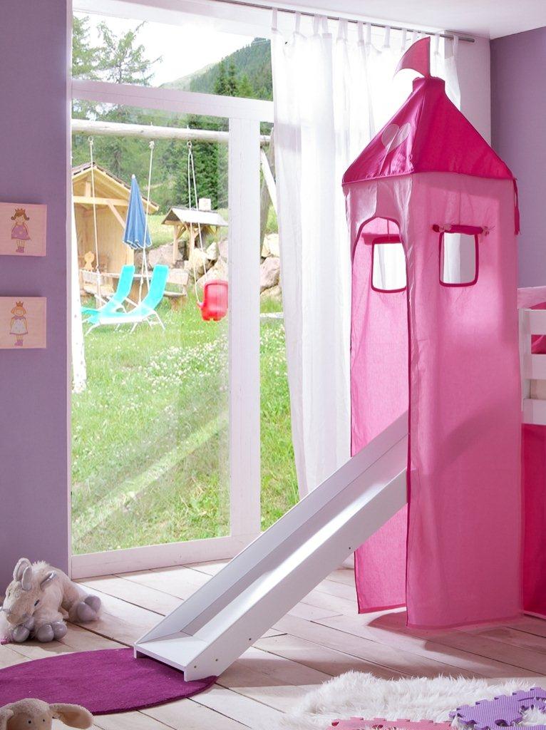 hochbett spielbett buche massiv weiss turm rutsche vorhang. Black Bedroom Furniture Sets. Home Design Ideas