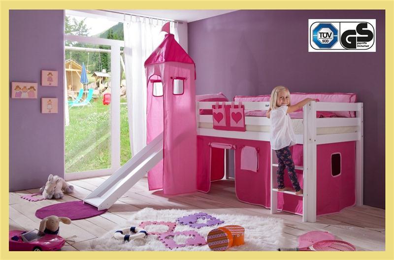 hochbett spielbett buche massiv weiss turm rutsche mit vorhang pink rosa herz ebay. Black Bedroom Furniture Sets. Home Design Ideas