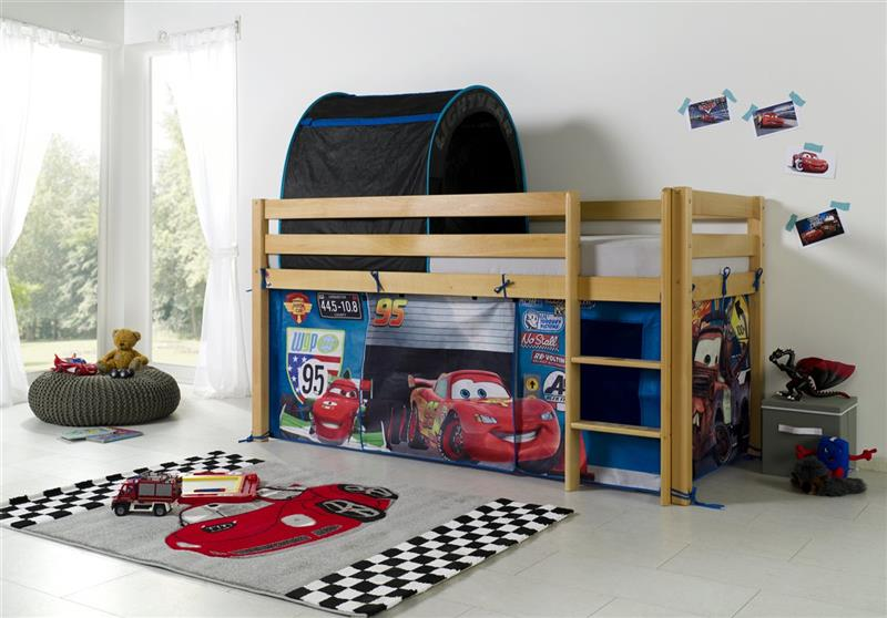 vorhang mit tunnel textilset f r hochbett spielbett etagenbett lizenz cars ebay. Black Bedroom Furniture Sets. Home Design Ideas