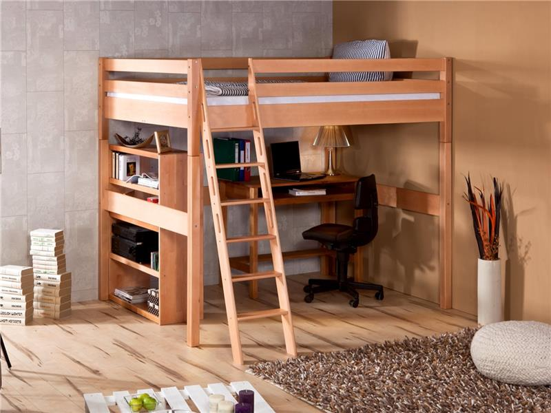 hochbett buche massiv klar lackiert jugendbett studenten bett extra hoch 185 cm. Black Bedroom Furniture Sets. Home Design Ideas