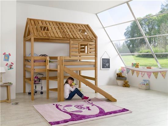 hochbett spielbett spielhaus toms h tte buche massiv mit rutsche und dach ebay. Black Bedroom Furniture Sets. Home Design Ideas