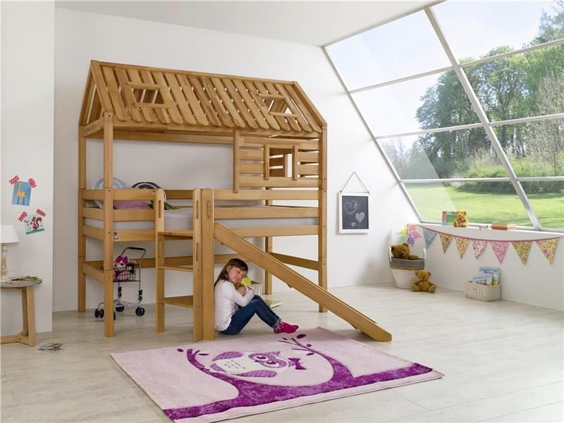 hochbett spielbett spielhaus toms h tte buche massiv mit rutsche dach matratze ebay. Black Bedroom Furniture Sets. Home Design Ideas