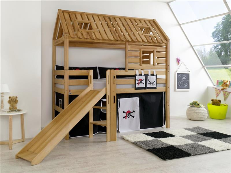 hochbett spielbett spielhaus toms h tte buche massiv rutsche dach matratze pirat ebay. Black Bedroom Furniture Sets. Home Design Ideas