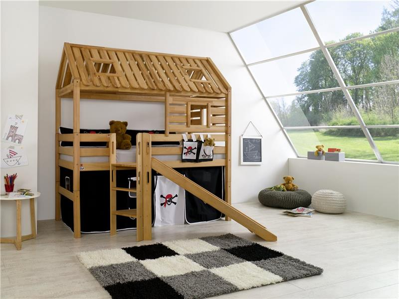 hochbett spielbett spielhaus toms h tte buche massiv rutsche dach vorhang pirat. Black Bedroom Furniture Sets. Home Design Ideas