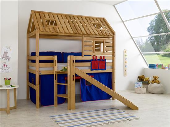 hochbett spielbett spielhaus toms h tte buche massiv rutsche dach stoff blau rot ebay. Black Bedroom Furniture Sets. Home Design Ideas