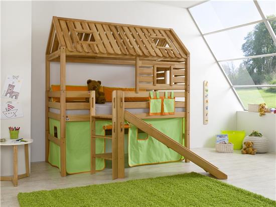 hochbett spielbett spielhaus toms h tte buche massiv matratze stoff gr n orange ebay. Black Bedroom Furniture Sets. Home Design Ideas