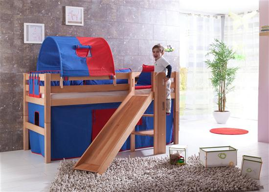 hochbett spielbett buche massiv natur mit rutsche schr grutsche vorhang blau rot ebay. Black Bedroom Furniture Sets. Home Design Ideas