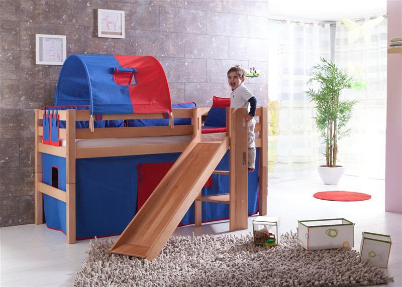 hochbett spielbett buche massiv natur mit rutsche. Black Bedroom Furniture Sets. Home Design Ideas