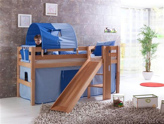 hochbett spielbett buche massiv natur mit rutsche schr grutsche stoff blau blau ebay. Black Bedroom Furniture Sets. Home Design Ideas