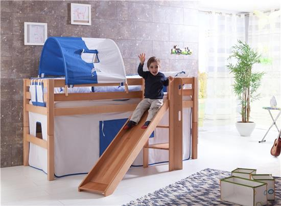 hochbett spielbett buche massivholz natur mit rutsche in blau wei mit matratze. Black Bedroom Furniture Sets. Home Design Ideas