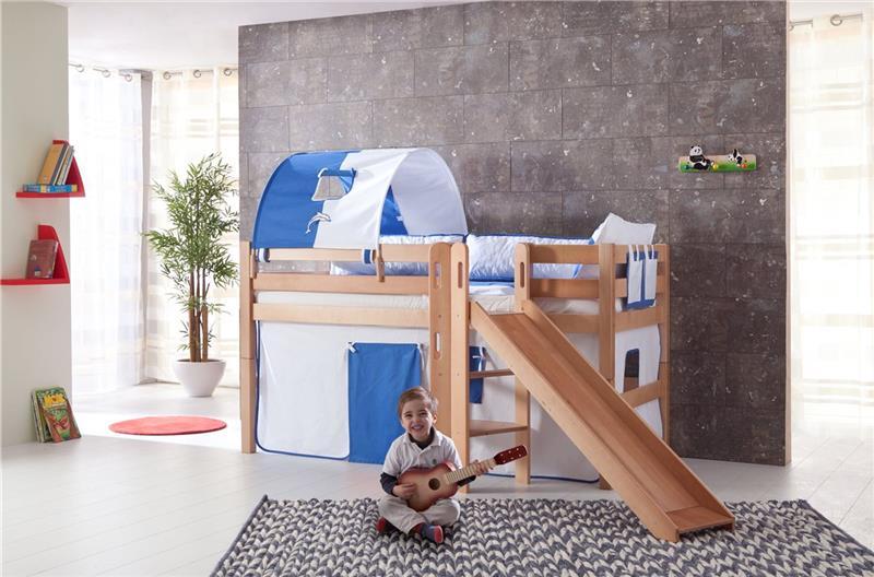 hochbett spielbett buche massivholz natur mit rutsche in blau wei mit matratze. Black Bedroom Furniture Sets. Home Design Ideas