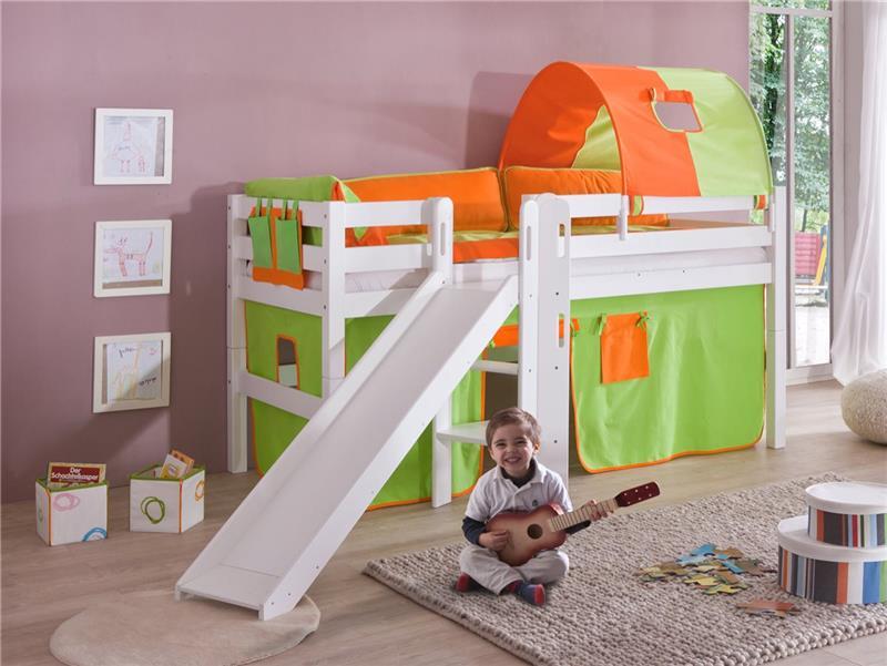 hochbett spielbett buche massiv weiss mit rutsche gr n orange mit matratze ebay. Black Bedroom Furniture Sets. Home Design Ideas