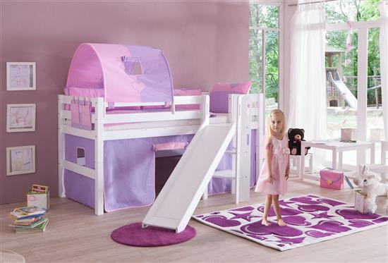 hochbett spielbett buche massiv weiss mit rutsche dekor purple rosa mit matratze ebay. Black Bedroom Furniture Sets. Home Design Ideas