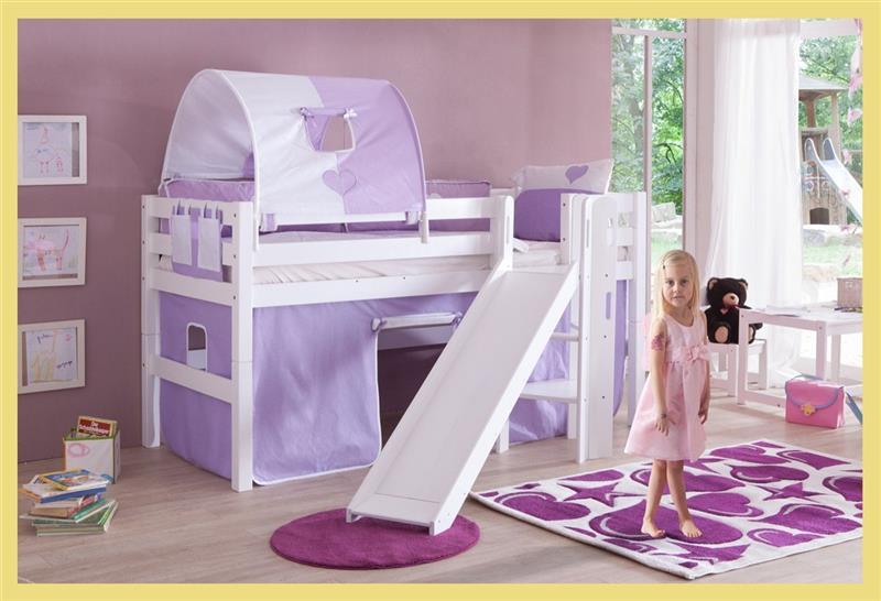 hochbett spielbett buche massiv weiss mit rutsche. Black Bedroom Furniture Sets. Home Design Ideas