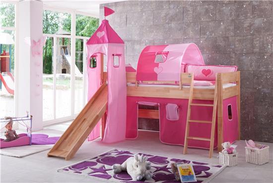hochbett spielbett buche massiv natur rutsche schr gleiter pink rosa matratze ebay. Black Bedroom Furniture Sets. Home Design Ideas