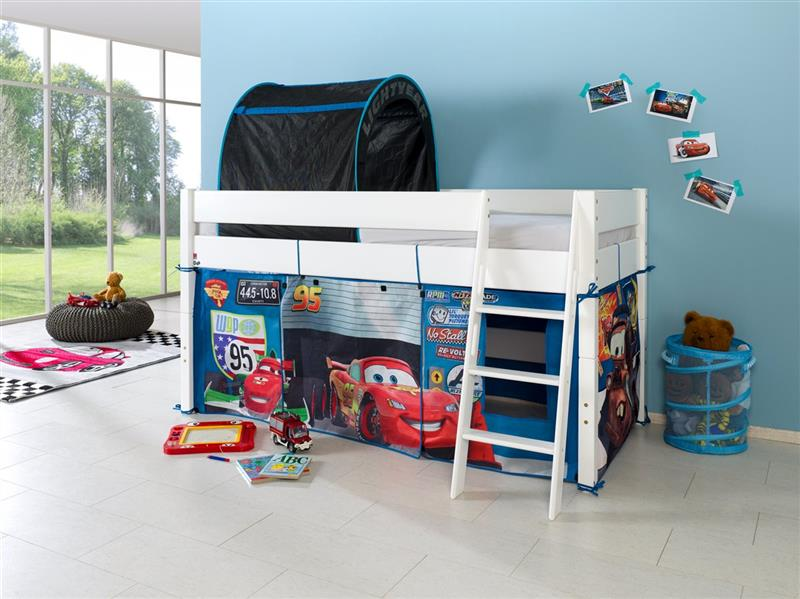 hochbett spielbett buche massiv weiss schr gleiter vorhang tunnel set auto cars. Black Bedroom Furniture Sets. Home Design Ideas