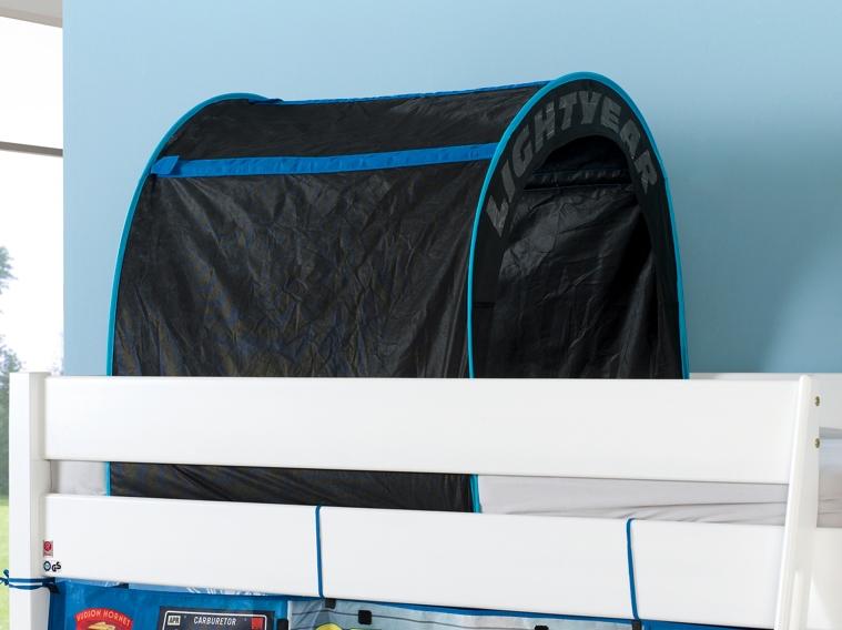 hochbett spielbett buche massiv weiss schr gleiter vorhang. Black Bedroom Furniture Sets. Home Design Ideas