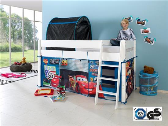 hochbett spielbett buche massiv weiss schr gleiter vorhang tunnel set auto cars. Black Bedroom Furniture Sets. Home Design Ideas