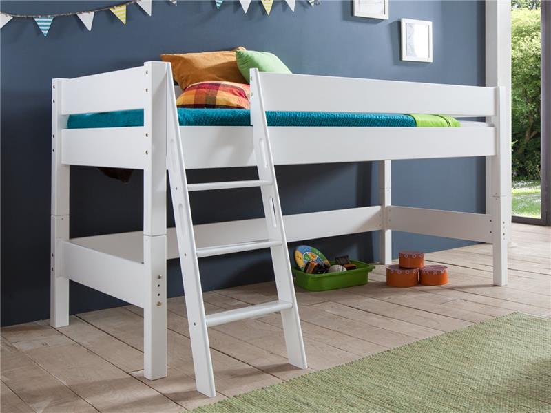 hochbett spielbett buche massiv wei teilbar mit schr gleiter gr n orange ebay. Black Bedroom Furniture Sets. Home Design Ideas