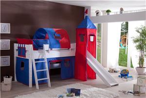 vorhang mit turmzelt und turmgestell weiss f r hochbett. Black Bedroom Furniture Sets. Home Design Ideas