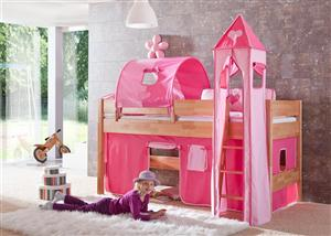 tunnel 75 cm f r hochbett spielbett etagenbett pink rosa halterungen natur ebay. Black Bedroom Furniture Sets. Home Design Ideas