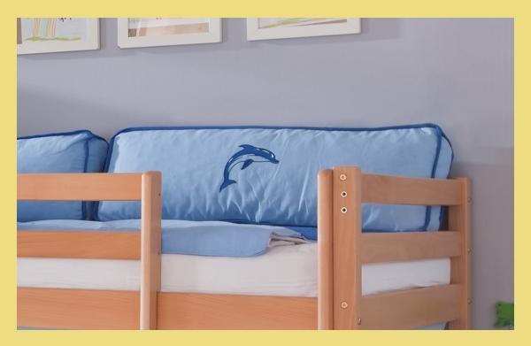 seitenkissen f r hochbett spielbett etagenbett oder einzelbett blau delphin ebay. Black Bedroom Furniture Sets. Home Design Ideas