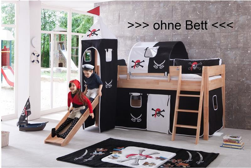 vorhang mit turmzelt u turmgestell natur f r hochbett spielbett pirat mit klett ebay. Black Bedroom Furniture Sets. Home Design Ideas