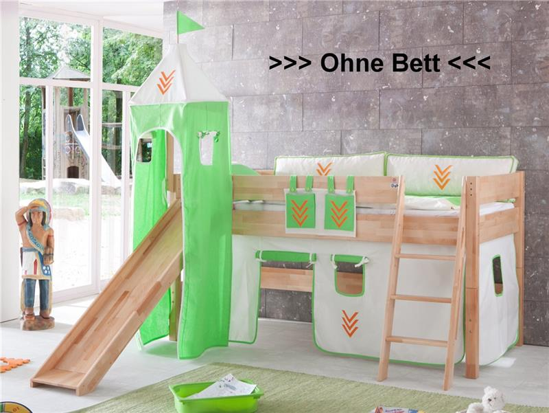 stoffset vorhang mit turmzelt stoff f r hochbett spielbett indianer mit klett ebay. Black Bedroom Furniture Sets. Home Design Ideas
