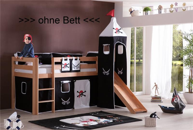 vorhang mit turmzelt und turmgestell natur f r hochbett spielbett dekor pirat ebay. Black Bedroom Furniture Sets. Home Design Ideas