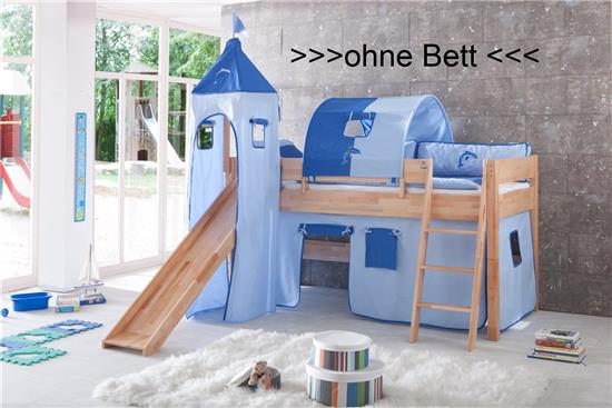 vorhang turmzelt und turmgestell natur f r hochbett spielbett blau delfin klett ebay. Black Bedroom Furniture Sets. Home Design Ideas