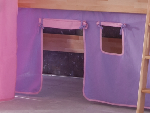 stoffset vorhang mit turmzelt stoff f r hochbett spielbett purple rosa herz ok ebay. Black Bedroom Furniture Sets. Home Design Ideas