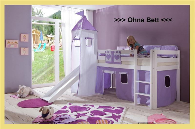 stoffset vorhang und turmzelt stoff f r hochbett spielbett purple wei mit klett ebay. Black Bedroom Furniture Sets. Home Design Ideas