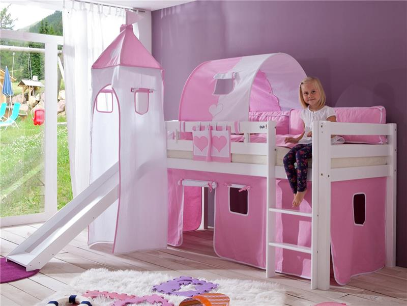 stoffset mit turmzelt vorhang f r hochbett spielbett rosa wei mit klettband ebay. Black Bedroom Furniture Sets. Home Design Ideas