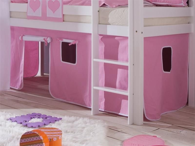 stoffset mit turmzelt vorhang f r hochbett spielbett rosa. Black Bedroom Furniture Sets. Home Design Ideas