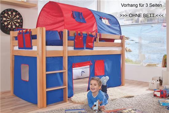 vorhang f r 3 seiten stoff f r hochbett spielbett. Black Bedroom Furniture Sets. Home Design Ideas
