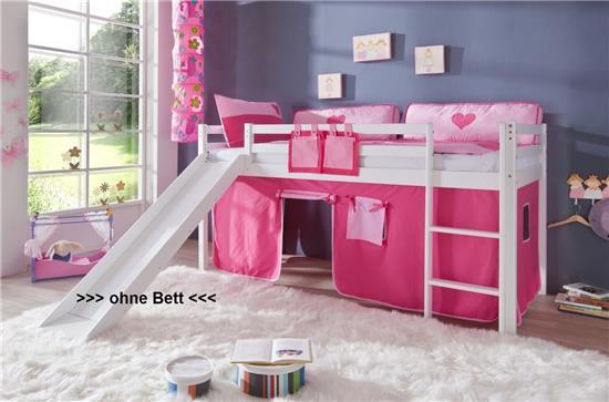 vorhang f r 3 seiten stoff f r hochbett spielbett etagenbett pink rosa ebay. Black Bedroom Furniture Sets. Home Design Ideas