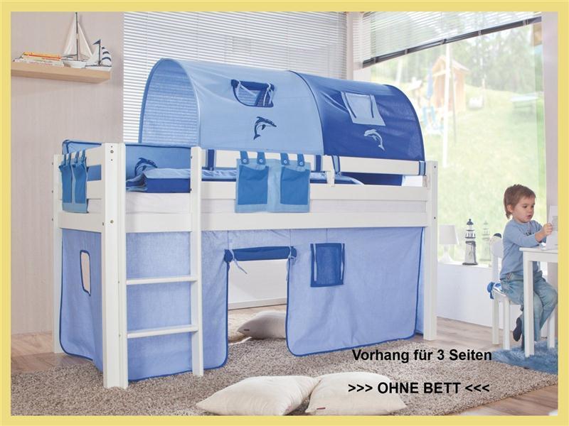 vorhang f r 3 seiten stoff f r hochbett spielbett etagenbett blau blau ebay. Black Bedroom Furniture Sets. Home Design Ideas