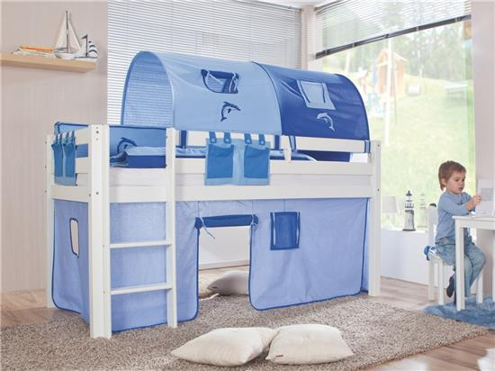 vorhang f r 3 seiten stoff f r hochbett spielbett etagenbett blau blau ebay. Black Bedroom Furniture Sets. Home Design Ideas
