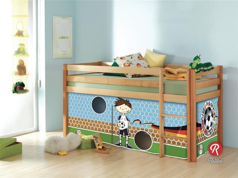 hochbett spielbett buche massiv natur mit leiter und vorhang im dekor fussball ebay. Black Bedroom Furniture Sets. Home Design Ideas