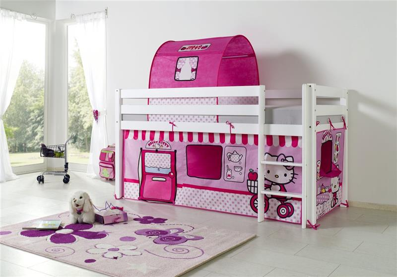 vorhang mit tunnel textilset f hochbett spielbett etagenbett lizenz hello kitty ebay. Black Bedroom Furniture Sets. Home Design Ideas