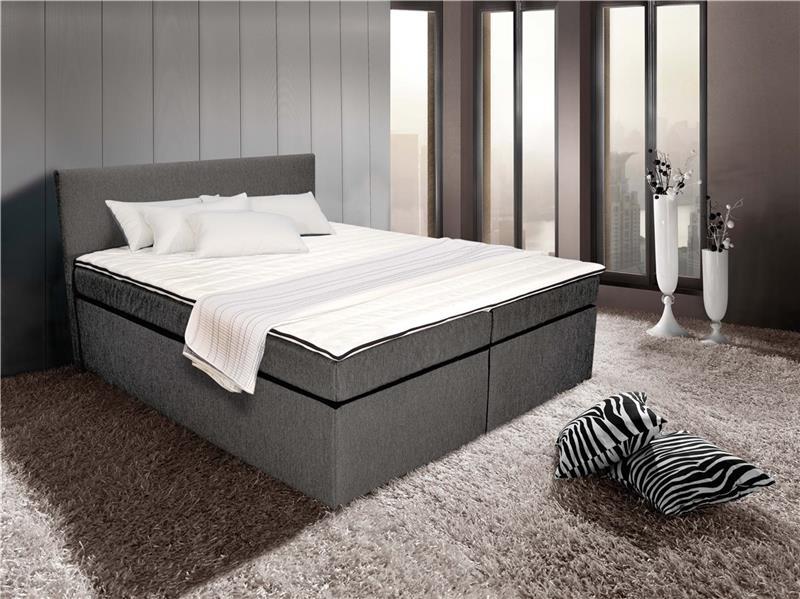boxspringbett bett 180 x 200 cm mit bonellfederkernmatratze toledo grey topper ebay. Black Bedroom Furniture Sets. Home Design Ideas