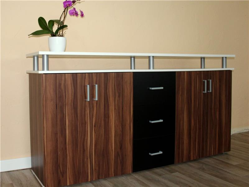 sideboard kommode schrank anrichte highboard schwarz weiss kernnuss ebay. Black Bedroom Furniture Sets. Home Design Ideas