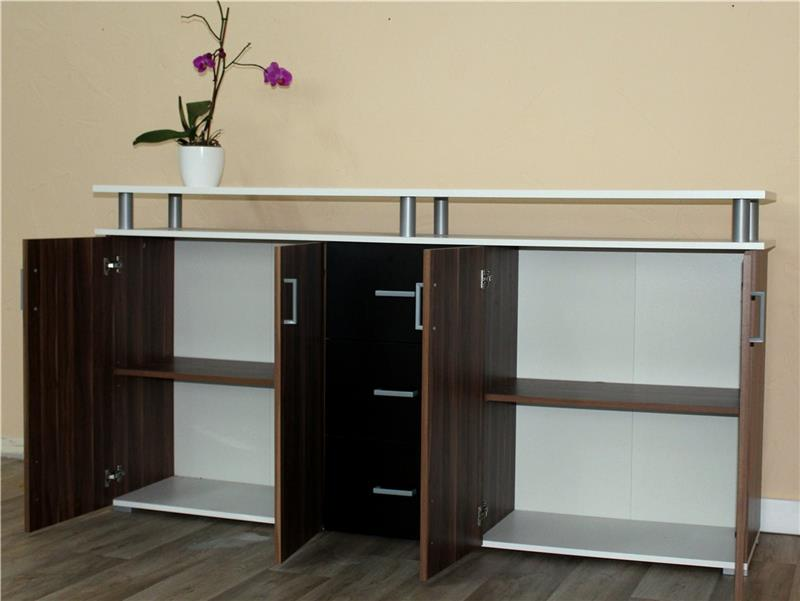 sideboard kommode schrank anrichte highboard schwarz weiss. Black Bedroom Furniture Sets. Home Design Ideas