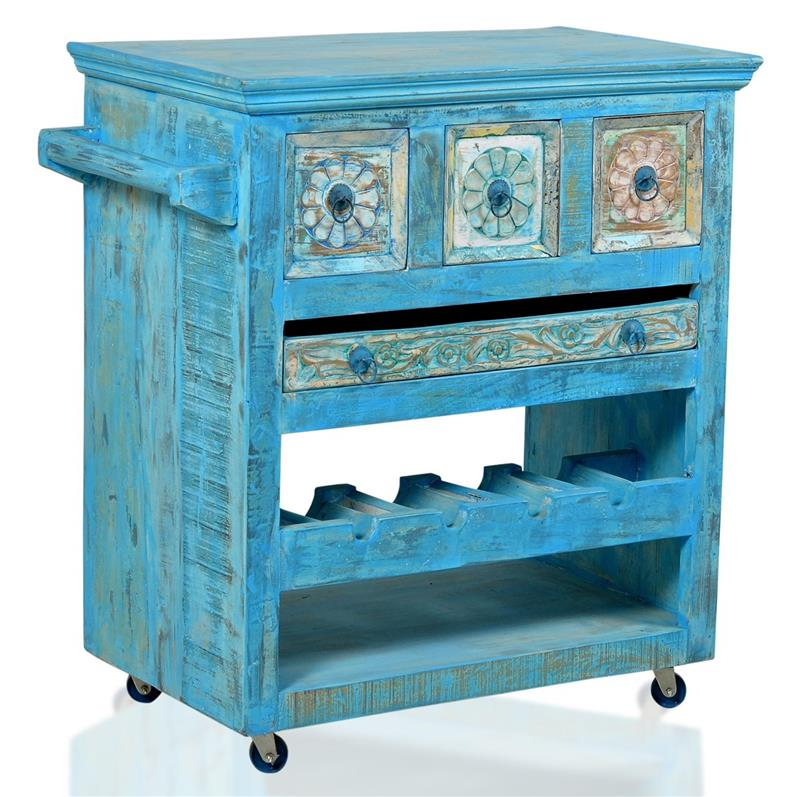 k chenwagen blue beistelltisch servierwagen altholz massiv shabby antik stil ebay. Black Bedroom Furniture Sets. Home Design Ideas